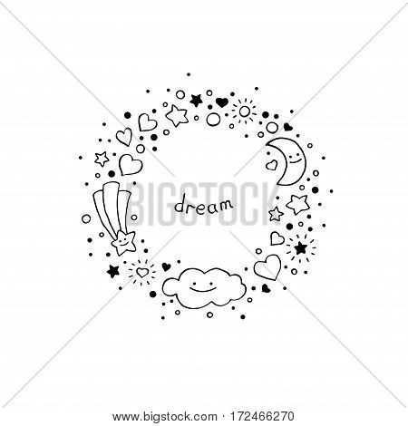 Black and white abstract background in hand-drawn style. Round frame with cloud stars hearts comet and crescent moon. Vector illustration.