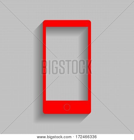 Abstract style modern gadget with blank screen. Template for any content. Vector. Red icon with soft shadow on gray background.