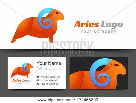 Emblem Aries Corporate Logo and Business Card Sign Template. Creative Design with Colorful Logotype Visual Identity Composition Made of Multicolored Element. Vector Illustration.