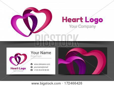 Infinity Love Two Red Hearts Valentine Corporate Logo and Business Card Sign Template. Creative Design with Colorful Logotype Visual Identity Composition Multicolored Element. Vector Illustration.