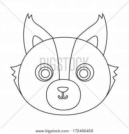 Wolf muzzle icon in outline design isolated on white background. Animal muzzle symbol stock vector illustration.