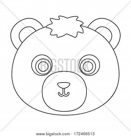Bear muzzle icon in outline design isolated on white background. Animal muzzle symbol stock vector illustration.