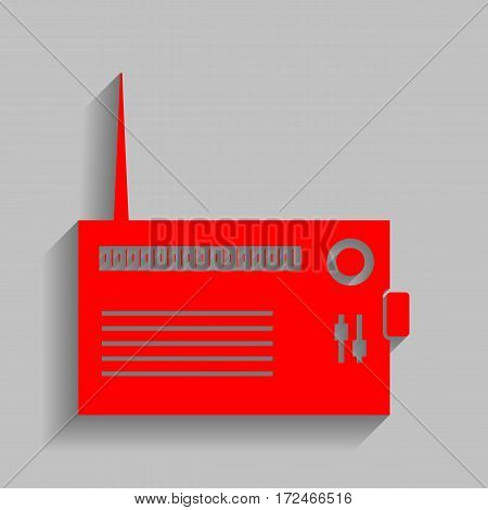 Radio sign illustration. Vector. Red icon with soft shadow on gray background.