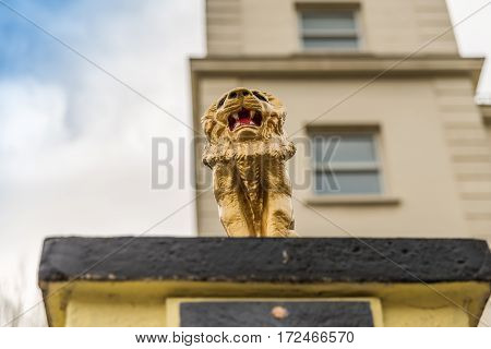 view from below on a gold lion on a pedestal in front of the gate to the estate gold hand-painted sculpture a fantastic decoration in front of the building