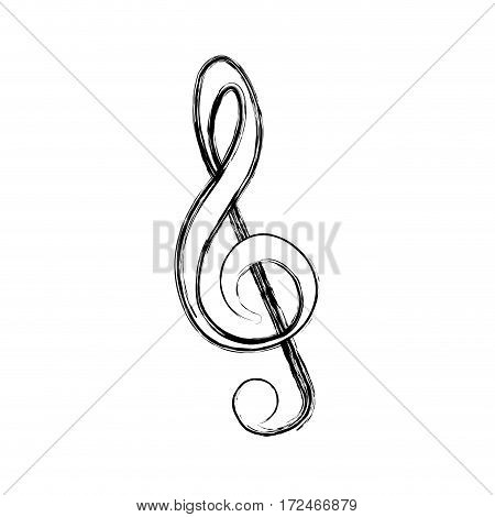 blurred silhouette sign music treble clef vector illustration