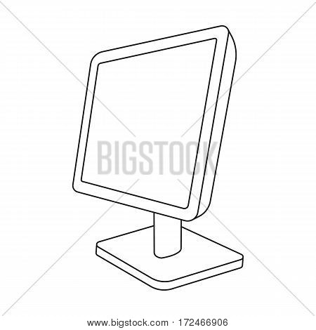 Computer monitor icon in outline design isolated on white background. Personal computer accessories symbol stock vector illustration.