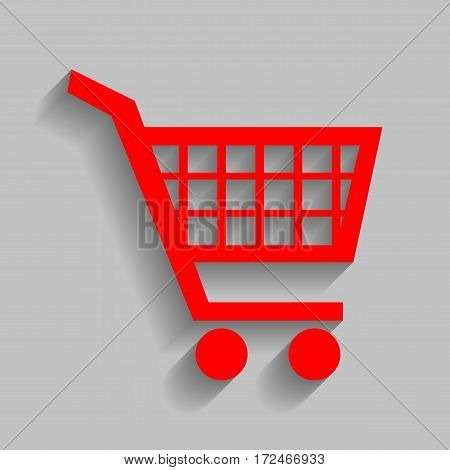 Shopping cart sign. Vector. Red icon with soft shadow on gray background.