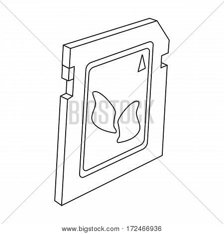 SD card icon in outline design isolated on white background. Personal computer accessories symbol stock vector illustration.