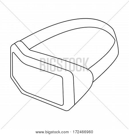 Virtual reality headset icon in outline design isolated on white background. Personal computer accessories symbol stock vector illustration.