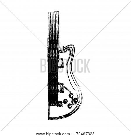 blurred silhouette half electric guitar vector illustration