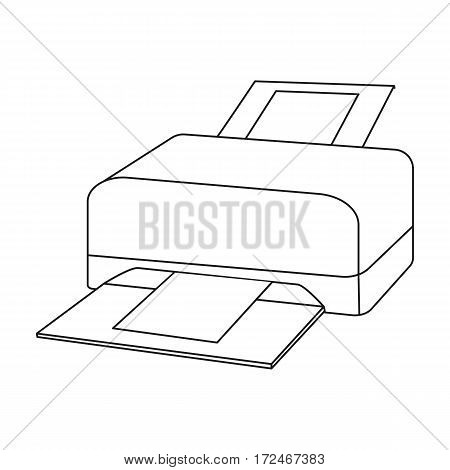Printer icon in outline design isolated on white background. Personal computer accessories symbol stock vector illustration.