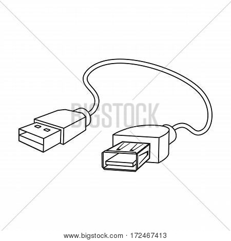 USB cable icon in outline design isolated on white background. Personal computer accessories symbol stock vector illustration.
