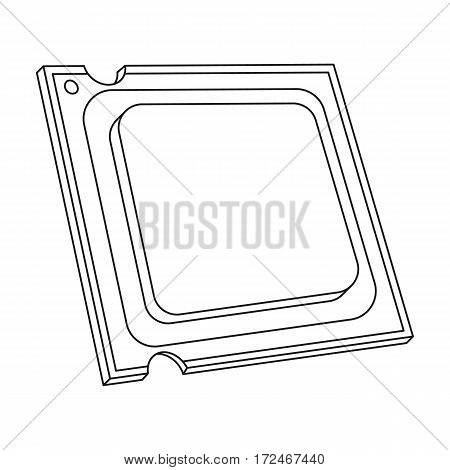 Central processing unit icon in outline design isolated on white background. Personal computer accessories symbol stock vector illustration.