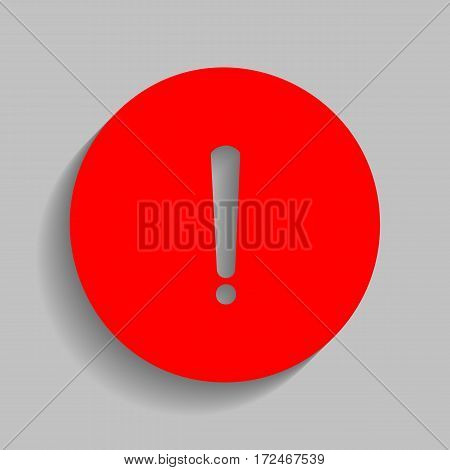 Exclamation mark sign. Vector. Red icon with soft shadow on gray background.