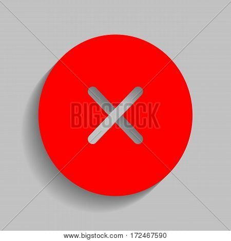 Cross sign illustration. Vector. Red icon with soft shadow on gray background.