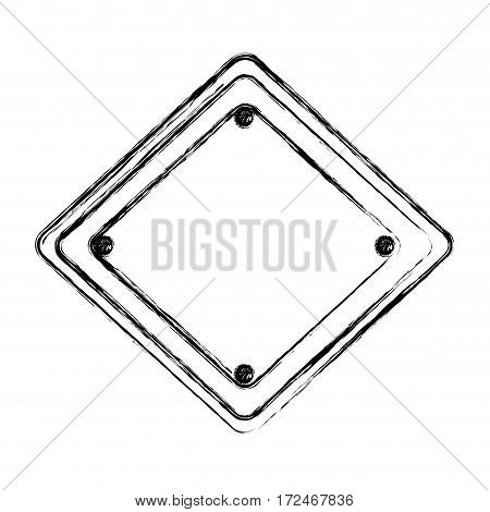 blurred silhouette diamond traffic sign vector illustration