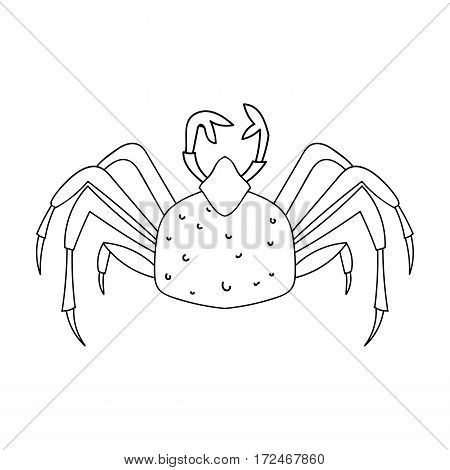 King crab icon in outline design isolated on white background. Sea animals symbol stock vector illustration.