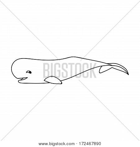 Sperm whale icon in outline design isolated on white background. Sea animals symbol stock vector illustration.