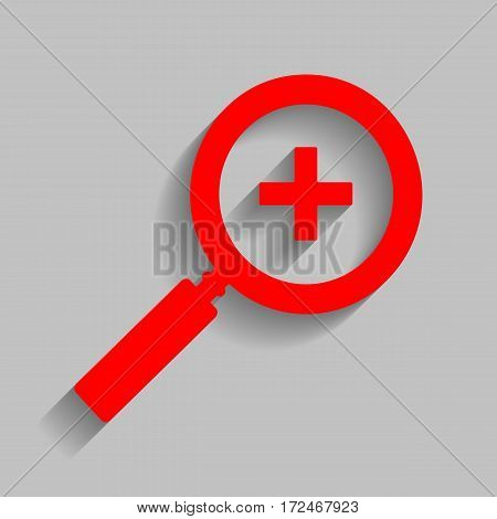 Zoom sign illustration. Vector. Red icon with soft shadow on gray background.