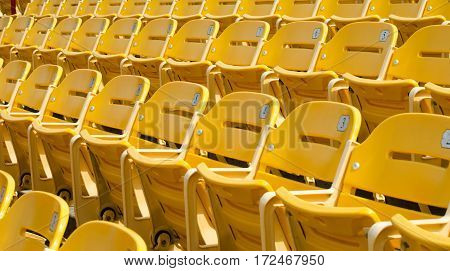 Yellow numbered vacant stadium seats ready for an event.