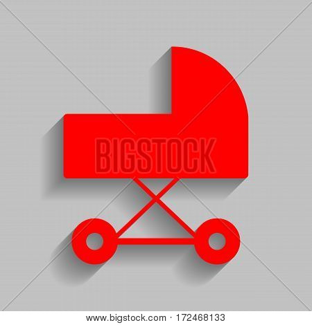 Pram sign illustration. Vector. Red icon with soft shadow on gray background.