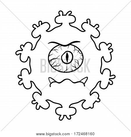 Purple virus icon in outline design isolated on white background. Viruses and bacteries symbol stock vector illustration.