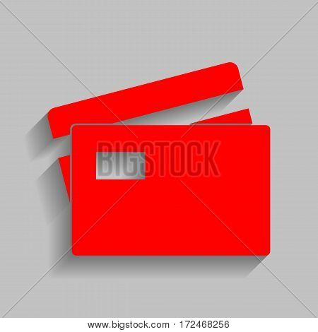 Credit Card sign. Vector. Red icon with soft shadow on gray background.