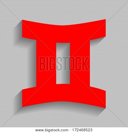 Gemini sign. Vector. Red icon with soft shadow on gray background.