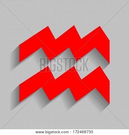 Aquarius sign illustration. Vector. Red icon with soft shadow on gray background.