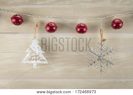 Red Bells with Tree and Snowflake Ornaments from string