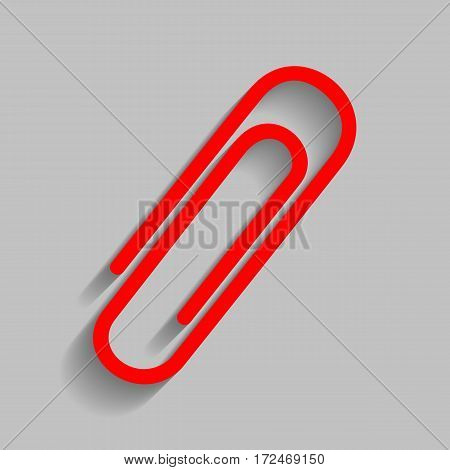 Clip sign illustration. Vector. Red icon with soft shadow on gray background.