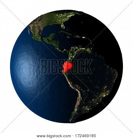 Ecuador In Red On Earth Isolated On White