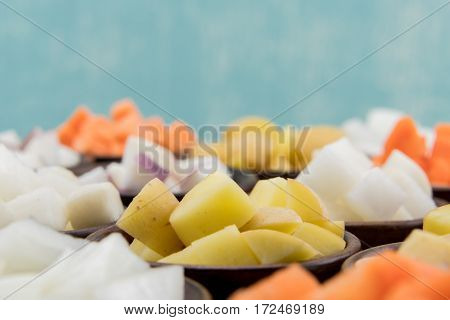 Root Vegetables in Bowls with Copy Space Above
