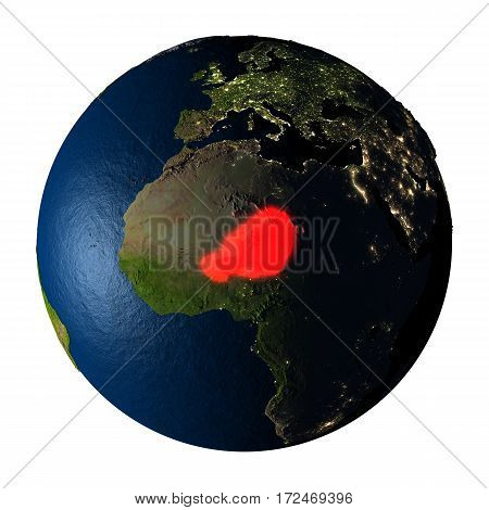 Niger In Red On Earth Isolated On White