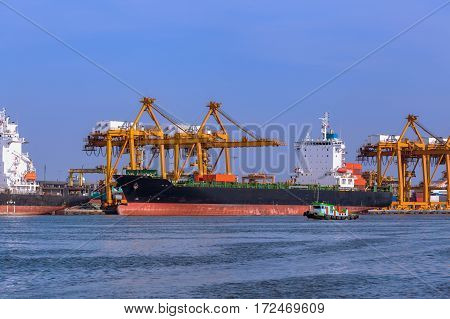 Aerial View Container And Cargo Ship, Import Export, Business Logistic Supply Chain Transportation C