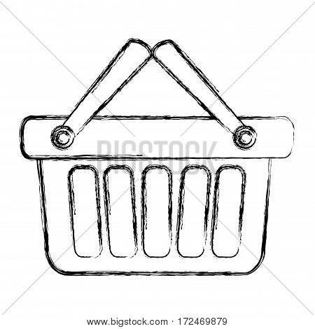 blurred silhouette shopping basket with two handle vector illustration