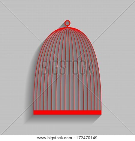 Bird cage sign. Vector. Red icon with soft shadow on gray background.