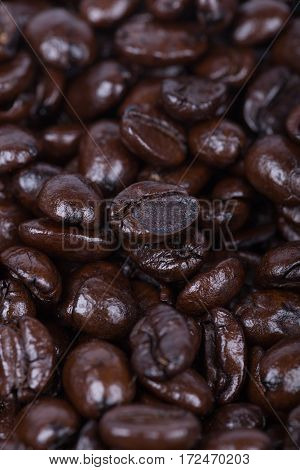 Close Up Roasted Coffee Beans Background