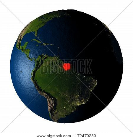 Suriname In Red On Earth Isolated On White