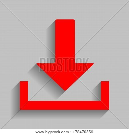 Download sign illustration. Vector. Red icon with soft shadow on gray background.