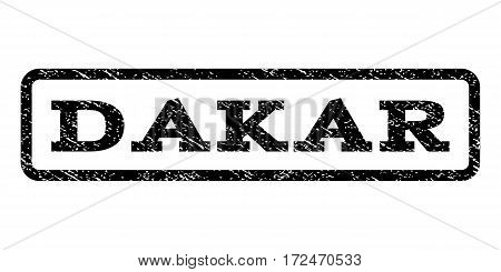 Dakar watermark stamp. Text caption inside rounded rectangle with grunge design style. Rubber seal stamp with unclean texture. Vector black ink imprint on a white background.
