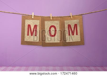 Mom Word Shape Hanging With Clothespin