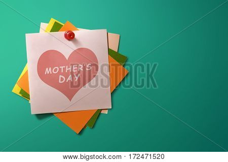 Mothers Day Message Written On Stack Of Colorful Paper Note