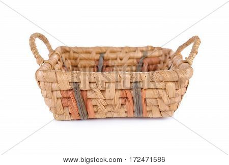 empty dried water hyacinth basket on white background
