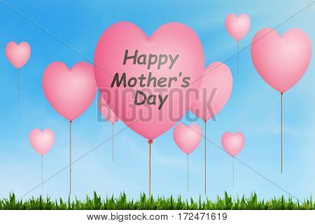 Happy Mothers Day Message Written On Pink Balloon