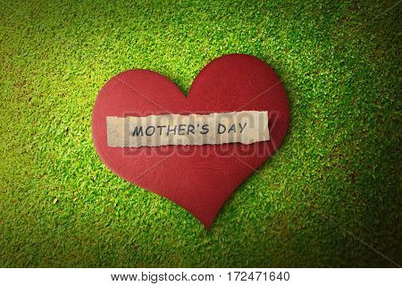 Mothers Day Message On Paper In Red Heart
