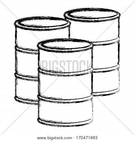 blurred silhouette set oil barrels vector illustration