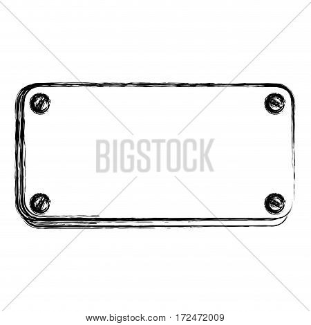 blurred silhouette rectangle warning traffic sign with screws vector illustration