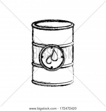blurred silhouette petroleum barrel with label vector illustration