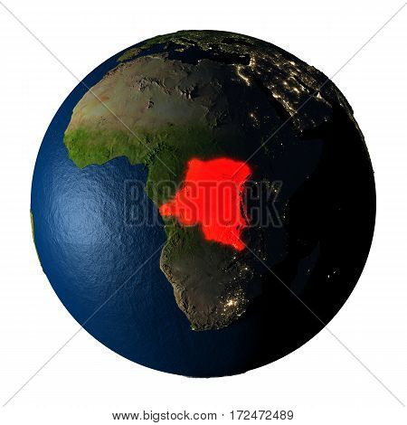 Democratic Republic Of Congo In Red On Earth Isolated On White
